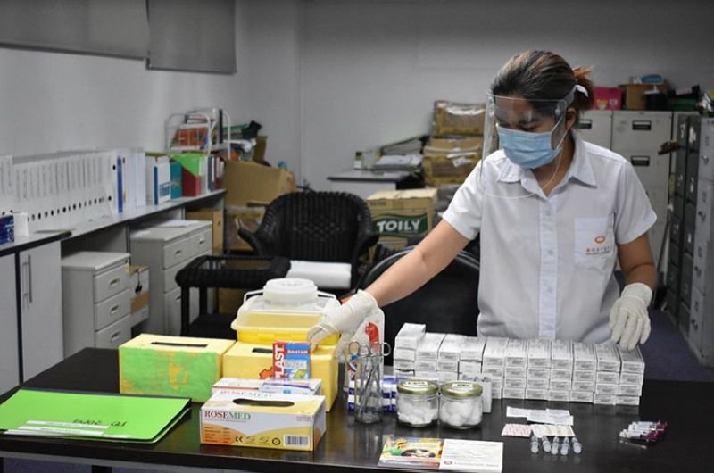 Nurse Mary Trishia Alesna, whois one ofEDC's Covid-19 officers in Negrosand othersites, works onkeepingall employees and contractors safe from the deadly virus since the pandemic began last year. (Contributed Photo)