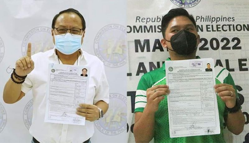 CEBU. Representative Pablo John Garcia (left) and Talisay City Mayor Samsam Gullas pose for a photo after filing their certificates of candidacy Friday, October 1, 2021. (Photos from Garcia's Facebook page and Amper Campana)