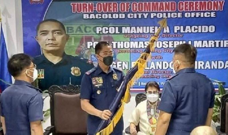 BACOLOD. Police Regional Office-Western Visayas Director Police Brigadier General Rolando Miranda (center) leads the turnover of command from Colonel Manuel Placido (left) to Colonel Thomas Joseph Martir as Bacolod City Police Office (BCPO) director at the BCPO headquarters Friday, October 1. (Contributed photo)