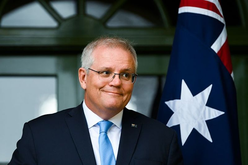 AUSTRALIA. Australian Prime Minister Scott Morrison discusses travel restrictions during a press conference in Canberra, Friday, October 1, 2021. (AP)
