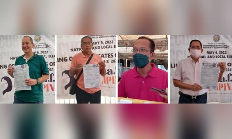 BACOLOD. Businessman Daniel Atayde, former policeman Wilfredo David, Engineer Narciso San Miguel file their certificates of candidacy for congressman of the Lone District of Bacolod yesterday, October 8, while former councilor Ricardo Tan is seeking a post at the city council. (Merlinda A. Pedrosa)