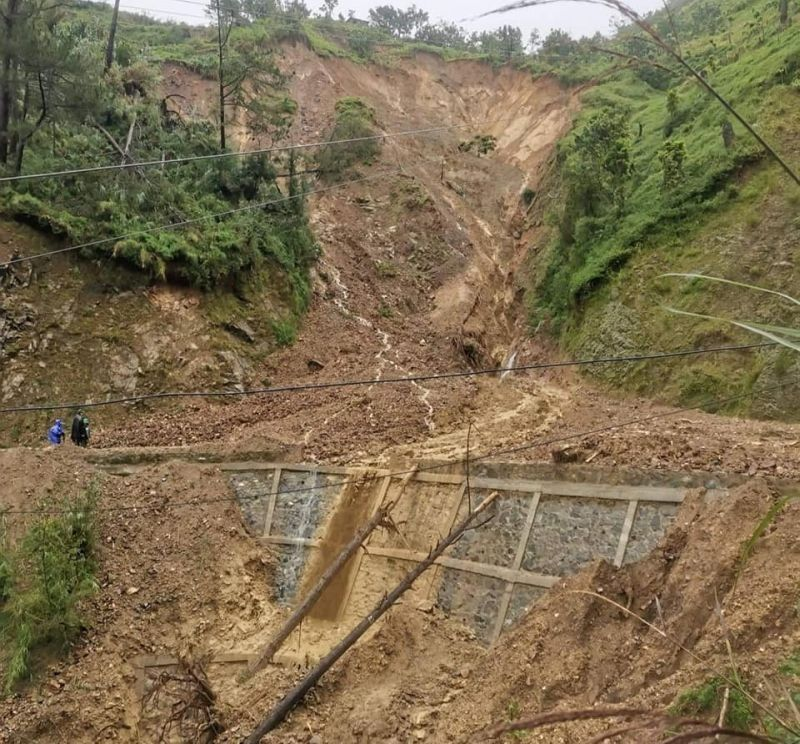 BENGUET. A section of the Jose Mencio Provincial Road in Atok, Benguet was closed due to a landslide triggered by Severe Tropical Storm Maring. (From Benguet Governor's Office)