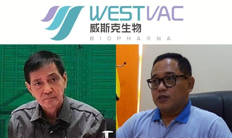 CEBU. Cebu City Acting Mayor Mike Rama (left) and Councilor Dave Tumulak with the logo of WestVac Biopharma Co. Ltd. (SunStar File)