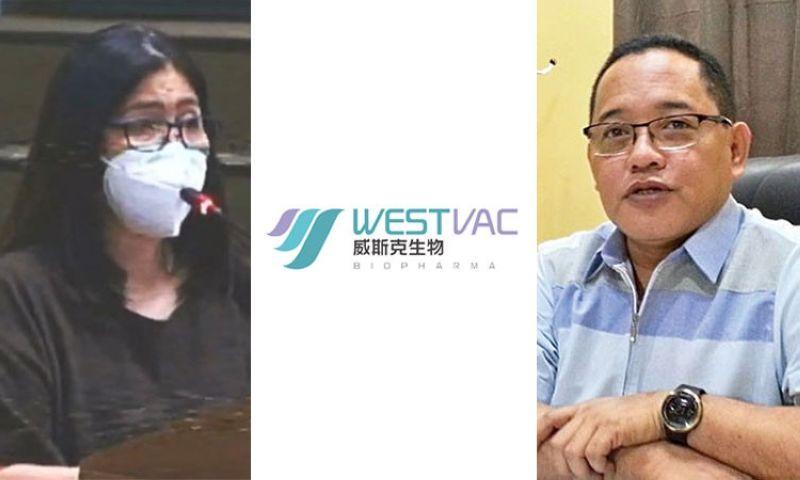 CEBU. Dr. Jemela Anne Osorio-Sanchez (left) and Cebu City Councilor Dave Tumulak with the logo of WestVac Biopharma Co. Ltd. (Contributed/SunStar)
